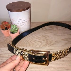 Croc Embossed Patched Faux Leather Belt